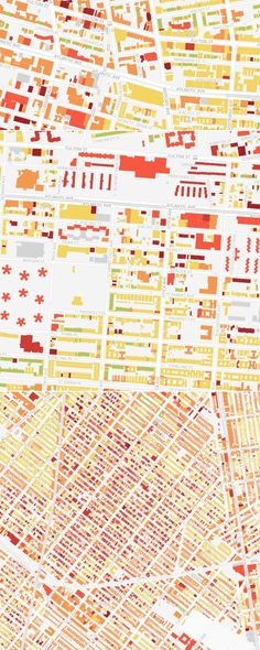 Building In Brooklyn, Mapped Out By Age Mapping every building in BrooklynMapping every building in Brooklyn Information Architecture, Information Design, Information Graphics, Graphic Design Typography, Graphic Design Illustration, Brooklyn Map, Book Layout, Map Design, Graphic Design Inspiration