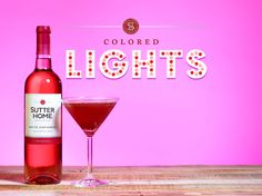 Take a break from the hustle and bustle of the holidays! Sip on a Colored Lights wine cocktail made with Sutter Home White Zinfandel.