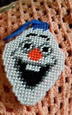 Olaf from frozen plastic canvas ornment