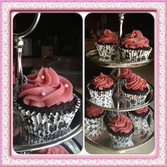 Chocolate almond flour cupcakes with raspberry buttercream. Pretty black and white wrappers for contrast