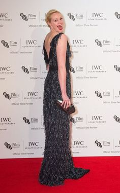 British actress, Gwendoline Christie wore a black dangly sequin Aerodynamics dress from Vivienne Westwood Couture to the IWC Gala Dinner in London last night.