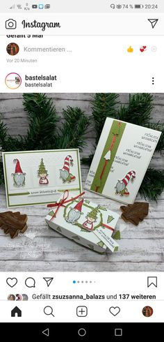 Christmas Gnome, Christmas 2016, Christmas Cards, Scrapbook Pages, Scrapbooking, Christmas Catalogs, Stamping Up Cards, Santa And Reindeer, 3d Projects