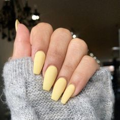 123 nail designs and ideas for coffin acrylic nails 37 Summer Acrylic Nails, Best Acrylic Nails, Pastel Nails, Yellow Nails, Acrylic Nails Yellow, Cute Spring Nails, Cute Nails, Pretty Nails, Fabulous Nails