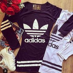 Vestido Adidas  (Venda) Sporty Outfits, Outfits For Teens, Trendy Outfits, Cool Outfits, Dress Outfits, Summer Outfits, Fashion Outfits, Womens Fashion, Looks Adidas