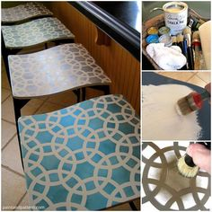 Stenciling Bar Stools project | Paint + Pattern