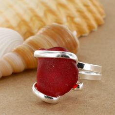 Sadie Green's Red Sea Glass Ring