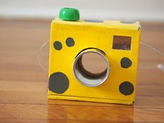 DIY Up- Cycled Mac + Cheese Box Camera for Kids by Pink Stripey Socks