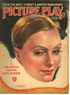 PICTURE PLAY GRETA GARBO ON COVER JUNE 1930