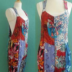 vintage patch work batik printed overalls / by HarlowsVintage Vintage Clothing, Vintage Outfits, Batik Prints, Jumper, Overalls, Patches, Basket, Legs, Printed