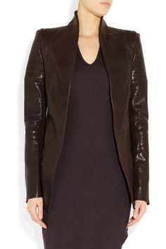 Haider Ackermann|Peak-shouldered washed-leather jacket|NET-A-PORTER.COM