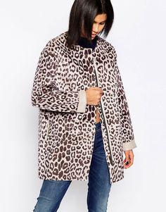 Image 1 ofPepe Jeans Faux Pony Fur Leopard Print Coat