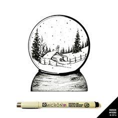 Daily Drawings by Derek Myers Art And Illustration, Ink Illustrations, Christmas Drawing, Christmas Art, Inktober, Blatt Tattoos, Winter Crafts For Toddlers, Winter Drawings, Ink Pen Art