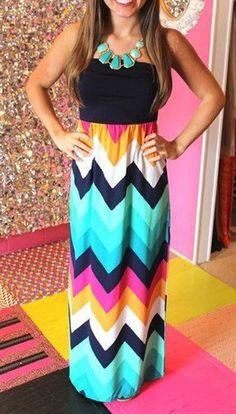 Sky Blue Patchwork Wavy Striped Bandeau Chiffon Maxi Dress  #Multicolor #Zig_Zag #Maxi_Dresses #Dresses