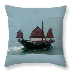 "Chinese Junk in Hong Kong Harbor Throw Pillow 14"" x 14"""