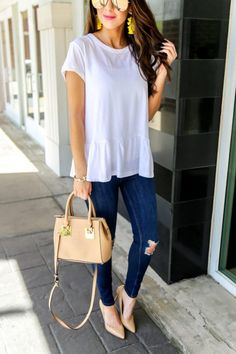 Basic White Tee to Style for Spring and Summer. Basic Tees. Tees for Spring. Spring Tees. Spring Tops. Casual Spring Outfits. Easy Spring Outfits. #springfashion #casualoutfits #denimstyle
