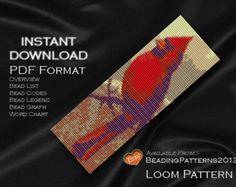 Loom Pattern Bracelet Cuff Beading Miyuki Delica Size 11 Beads - PDF Download - Cardinal Bird