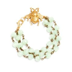 Melina Bracelet  Who's the queen bee? You are when you wear this beautiful chalcedony bracelet with its golden bee from Manic Trout. A honey of an accessory!