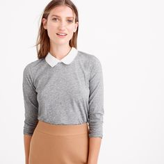 Crew for the Three-quarter-sleeve collar T-shirt for Women. Find the best selection of Women Shirts & Tops available in-stores and online. Collar Top, Collar Shirts, Beige Pencil Skirt, Modesty Fashion, Grey And Beige, Nyc Fashion, Tank Top Shirt, Tank Tops, T Shirts For Women
