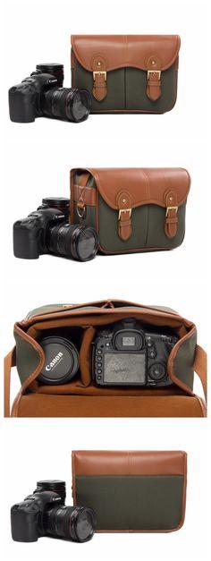 CANVAS PU LEATHER DSLR CAMERA BAG SLR CAMERA CASE WATERPROOF CAMERA BAG H216 Leather Gifts, Leather Bags Handmade, Handmade Bags, Pu Leather, Canvas Leather, Dslr Camera Bag, Camera Case, Camera Logo, Camera Hacks