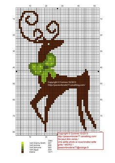 noël - christmas - renne - Point de croix - cross stitch - Blog : http://broderiemimie44.canalblog.com/