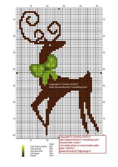 noël - christmas - renne - Point de croix - cross stitch - Blog : http://broderiemimie44.canalblog.com/