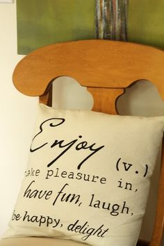 pillows with words. love.