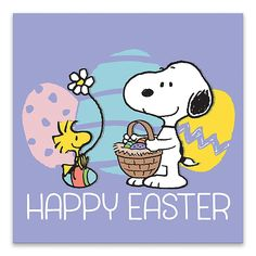 "The Peanuts ""Happy Easter"" Wrapped Canvas Wall Art brings a colorful look to your walls for Easter. The eye-catching printed artwork has imagery extending over the 4 sides of the gallery-style canvas so it can be displayed without a frame. Snoopy Images, Snoopy Pictures, Ostern Wallpaper, Easter Cartoons, Snoopy Und Woodstock, Happy Easter Quotes, Easter Sayings, Snoopy Wallpaper, Happy Easter Wallpaper"