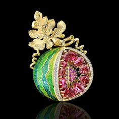 Watermelon brooch pendant Yellow gold 750, diamonds, black diamonds, pink sapphires, tourmalines pink and green enamel by Master Exclusive