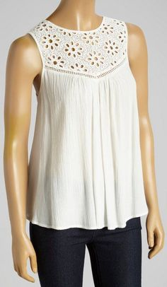 White Lace Sleeveless Babydoll Top: