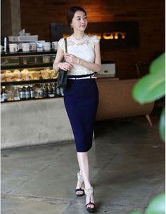Chân váy bút chì màu xanh đen-CV031