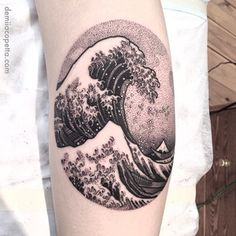 Dotwork Tatoo of waves Trendy Tattoos, Cute Tattoos, Beautiful Tattoos, Black Tattoos, New Tattoos, Tattoo Dots, Dot Work Tattoo, Tattoo Wave, Piercing Tattoo