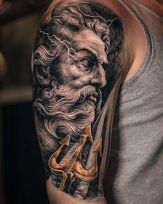 Posseidon Tattoo, Zues Tattoo, Tattoos 3d, Medusa Tattoo, Trendy Tattoos, Body Art Tattoos, Sleeve Tattoos, Tattoo Blog, Sleeve Tattoo For Guys