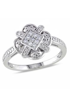 .1CT Round Pave Diamond Ring In 10k White Gold - Beyond the Rack