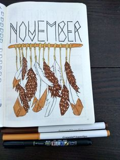 35 Beautiful and Enc 35 Beautiful and Enchanting November Bujo Ideas for Your Bullet Journal Bullet Journal November Cover Page, Bullet Journal Monthly Spread, Bullet Journal 2019, Bullet Journal Layout, My Journal, Journal Covers, Bullet Journal Inspiration, Journal Pages, Bullet Journal Leaves