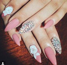 Pink rhinestone white floral nails