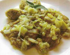 Carne din cereale Filetto cu varza Seitan, Risotto, Grains, Rice, Ethnic Recipes, Pork, Food, Jim Rice, Brass