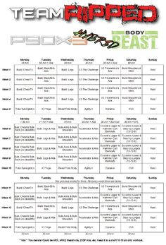 Body Beast Hybrids: P90X3 and T25 - teamRIPPED Workout List, Fit Board Workouts, At Home Workouts, Body Beast Worksheets, P90x Worksheets, Event Planning Quotes, Meal Planning, Body Beast Workout Schedule, P90x Schedule