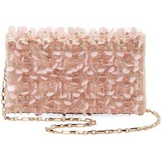 Oscar de la Renta Women's Petite Evening Satin Clutch - Pink ($759) ❤ liked on Polyvore featuring bags, handbags, clutches, pink, pink clutches, pink purse, evening clutches, evening handbags and beige handbags
