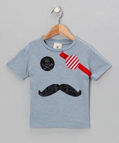 Gray Captain Pirate Mustache Tee