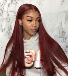 red human lace front wig