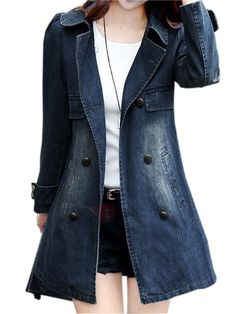 #TideBuy - #TideBuy Big Lapel Denim Trench Coat - AdoreWe.com Warm Outfits, Trendy Outfits, Modest Fashion, Fashion Dresses, Chambray, Streetwear, Long Denim Jacket, Denim Trench Coat, Beauty And Fashion