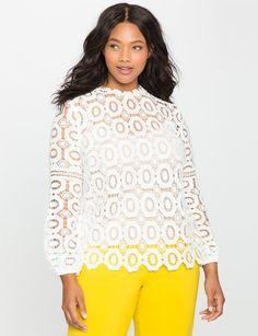 c8e9048edf Studio Long Sleeve Crochet Lace Blouse