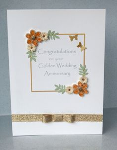 50th anniversary card, quilled golden wedding ---Etsy.
