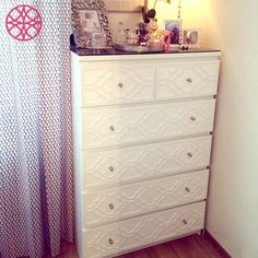 @furnimprovements did a wonderful job with the O'verlays Khloe Kit on her white Ikea Malm 6 drawer chest dresser. Easy DIY for your bedroom.