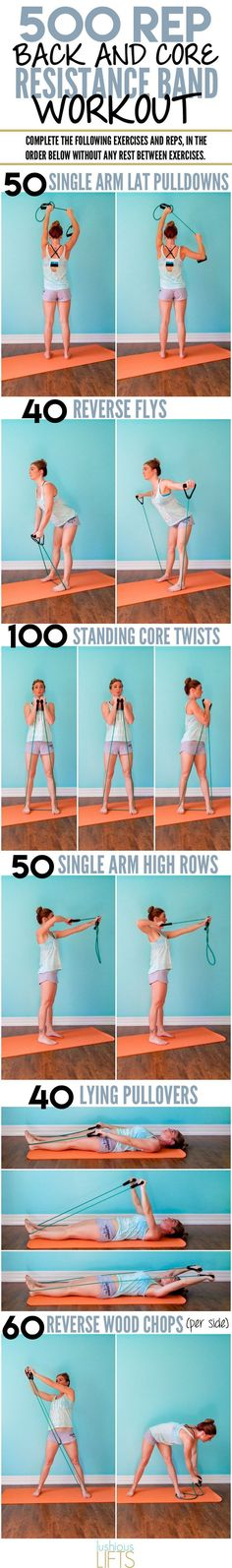 500 rep back and core resistance band workout - Fitness Fitness Workouts, Fitness Motivation, Sport Fitness, Pilates Workout, At Home Workouts, Fitness Tips, Health Fitness, Fitness Plan, Yoga Fitness