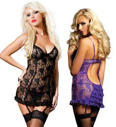 Sexy dentelle femmes chemises de nuit Sleepshirt plus la taille des vêtements de nuit pour femme érotique lingerie femmes de nuit robes de nuit Sommeil et Loung