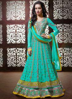 Fashion: Shraddha Kapoor in Designer Floor-Length Anarkali Suits Pics 2014