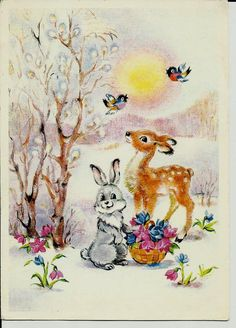 Fawn Rabbit and Birds - Vintage Russian Postcard by LucyMarket, $4.99