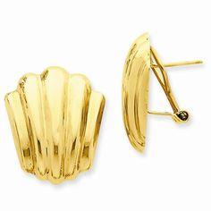 14k Yellow Gold Polished Fancy Omega Back Post Ear