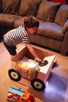 Drive-in movie night (cardboard box reconstructed)~going to make for my grandson Tason for his Easter basket!